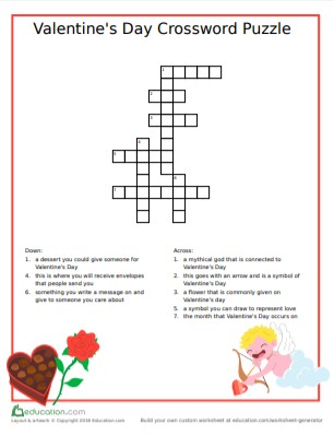 valentines' day crossword puzzle for kids