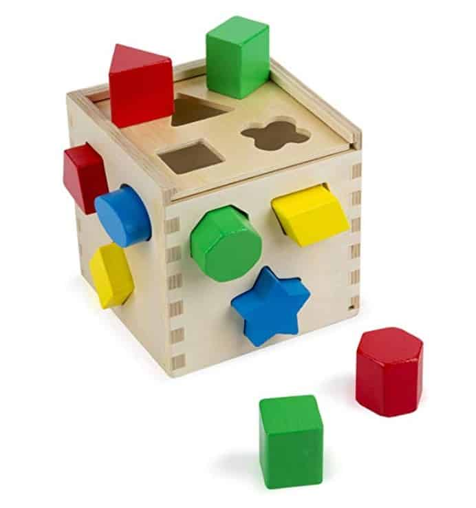 wooden cube with shapes toddler toy
